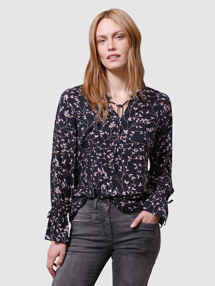 Laura Kent Bluse in floralem Muster, Schwarz/Haselnuss