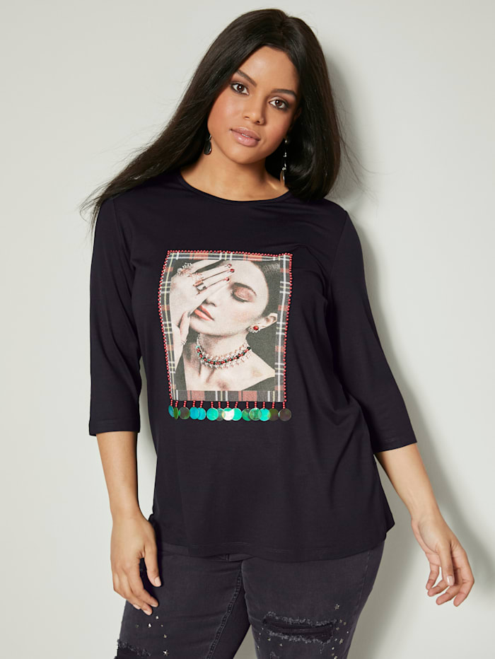 Angel of Style Shirt mit Motivdruck, Schwarz