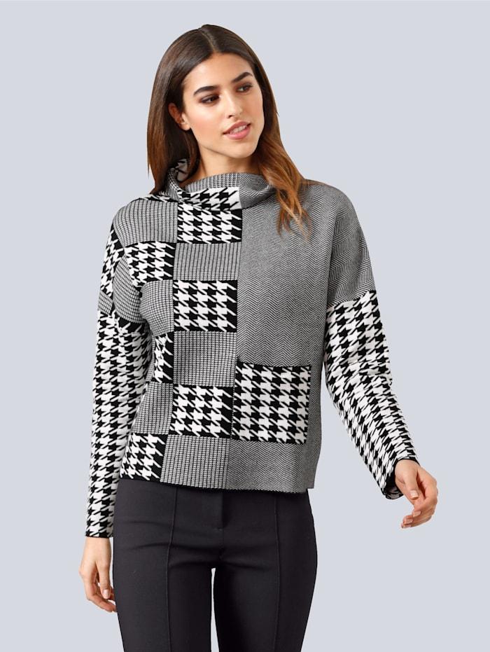 Alba Moda Pullover im grafischen Patch-Dessin, Schwarz/Off-white