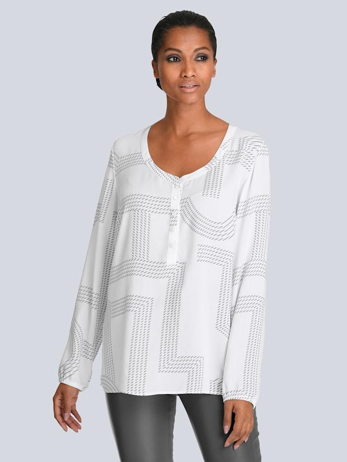 Alba Moda Bluse aus weichfliessender Viskose, Weiß/Grau