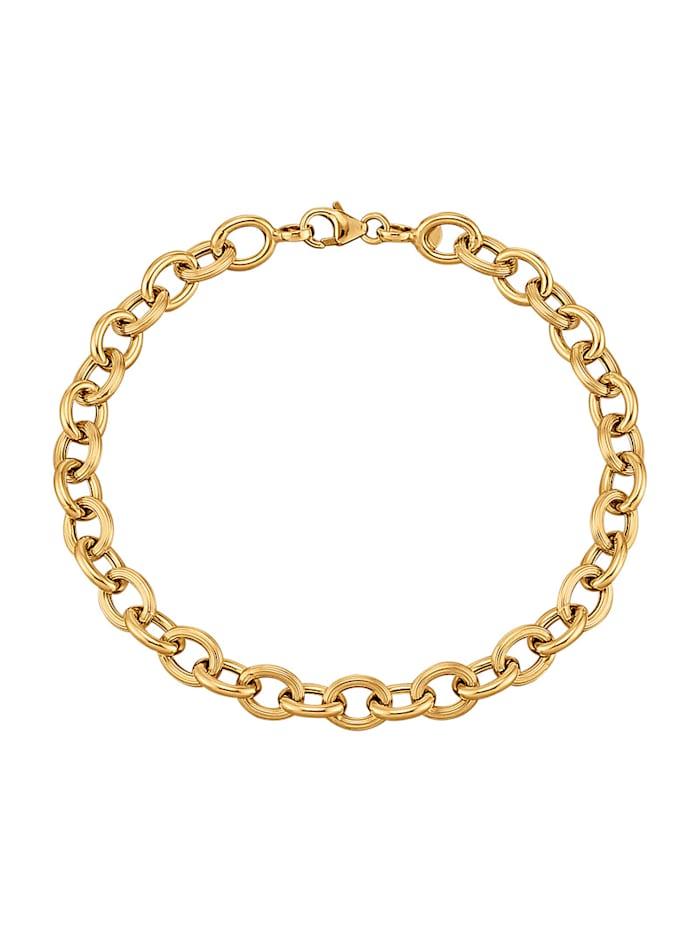 Amara Highlights Bracelet à maille jaseron en or 585, Coloris or jaune