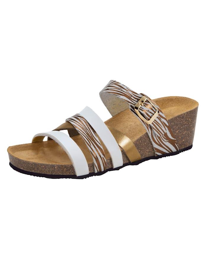 Nazouvací obuv atraktivní řemínky, Bílá/Zlatá