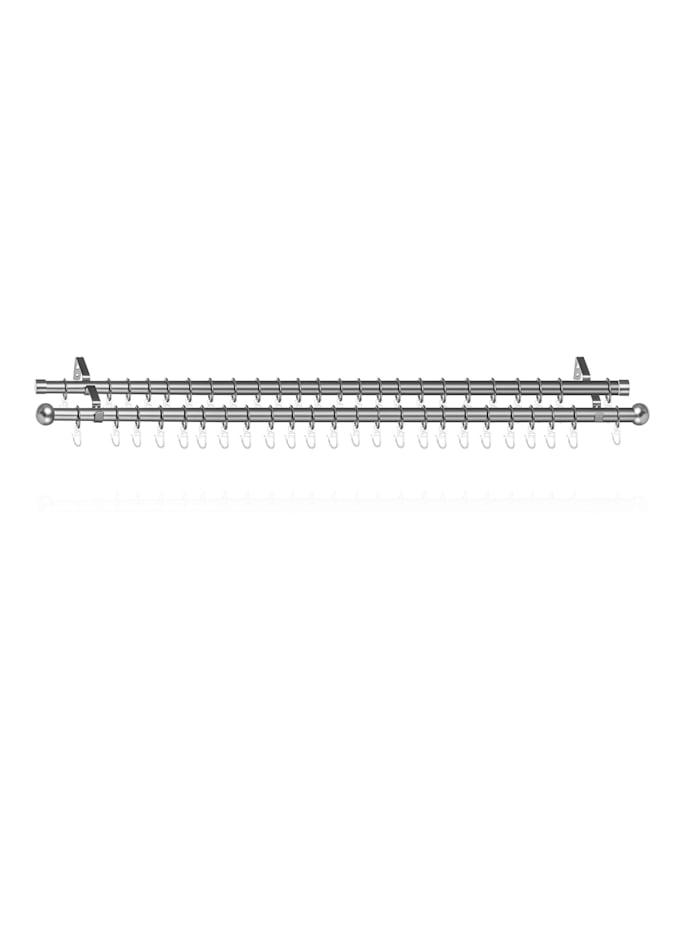 Gardinenstange Kugel, 20 mm, ausziehbar, 2 läufig 130 - 240 cm Chrom Matt