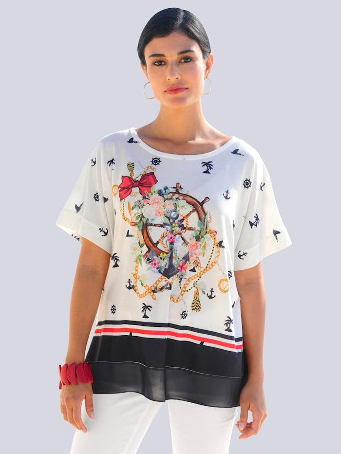 Alba Moda Shirt mit maritimen Druckmotiv, Marineblau/Weiß/Rot