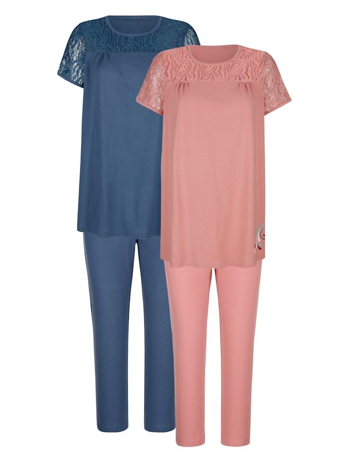 Blue Moon Pyjamas par lot de 2 à imprimé d'inspiration orientale, Bois de rose/Marine