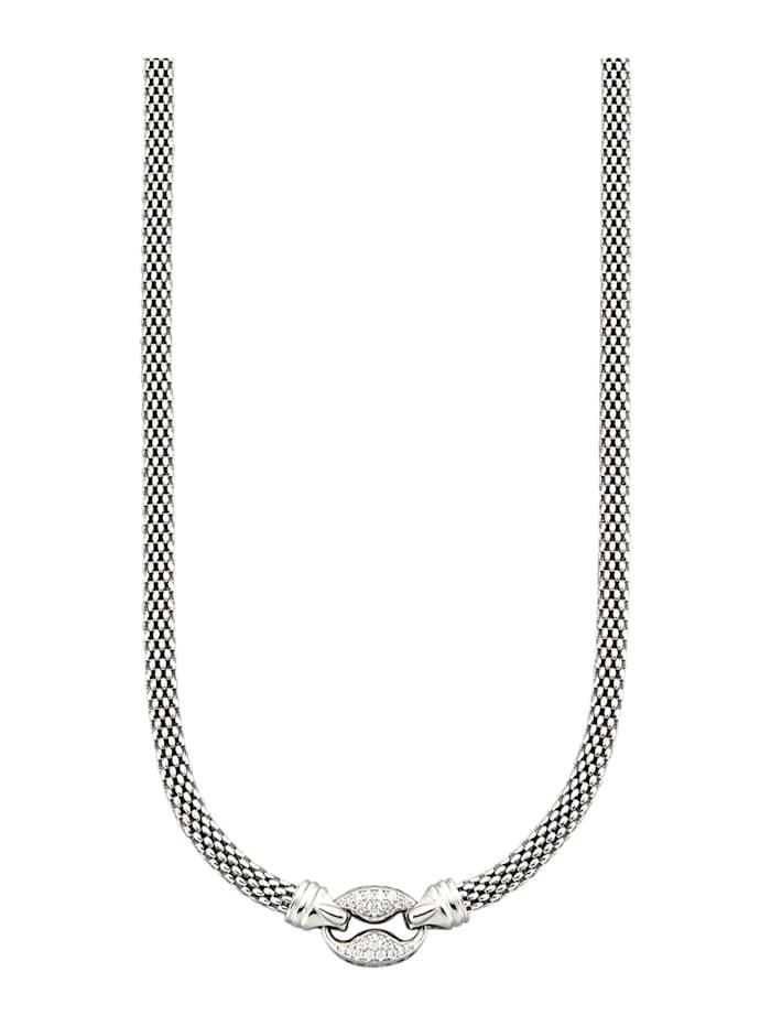 Amara Silber Collier mit weißen synth. Zirkonia, Silberfarben