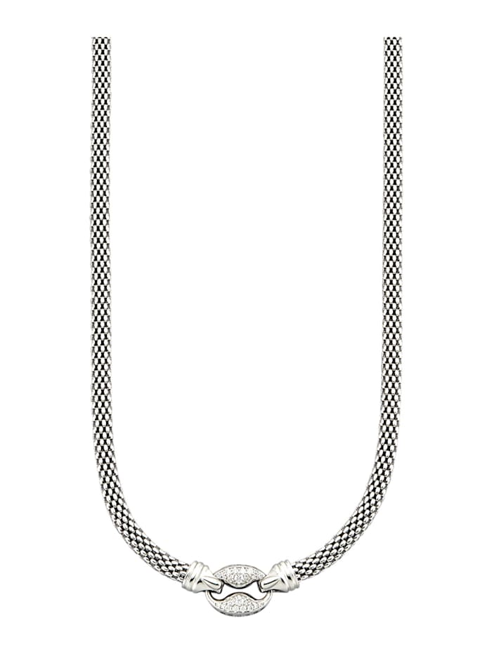 Diemer Silber Collier mit weißen synth. Zirkonia, Silberfarben