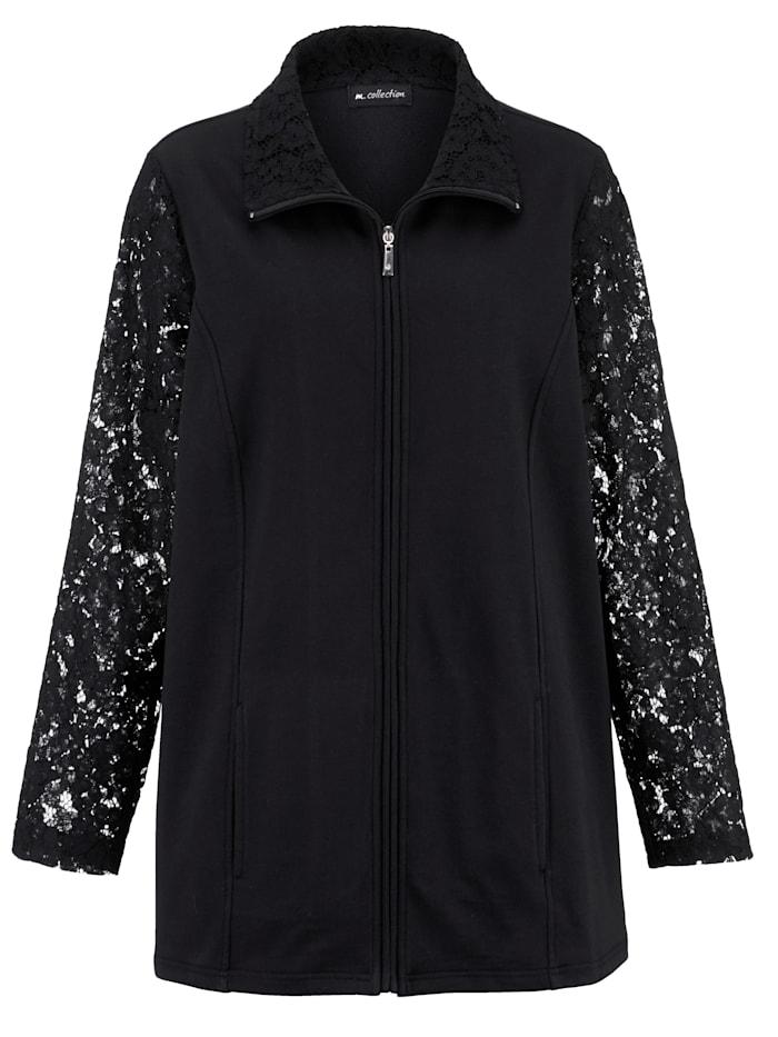 m. collection Sweatshirtjacka med transparenta spetsärmar, Svart