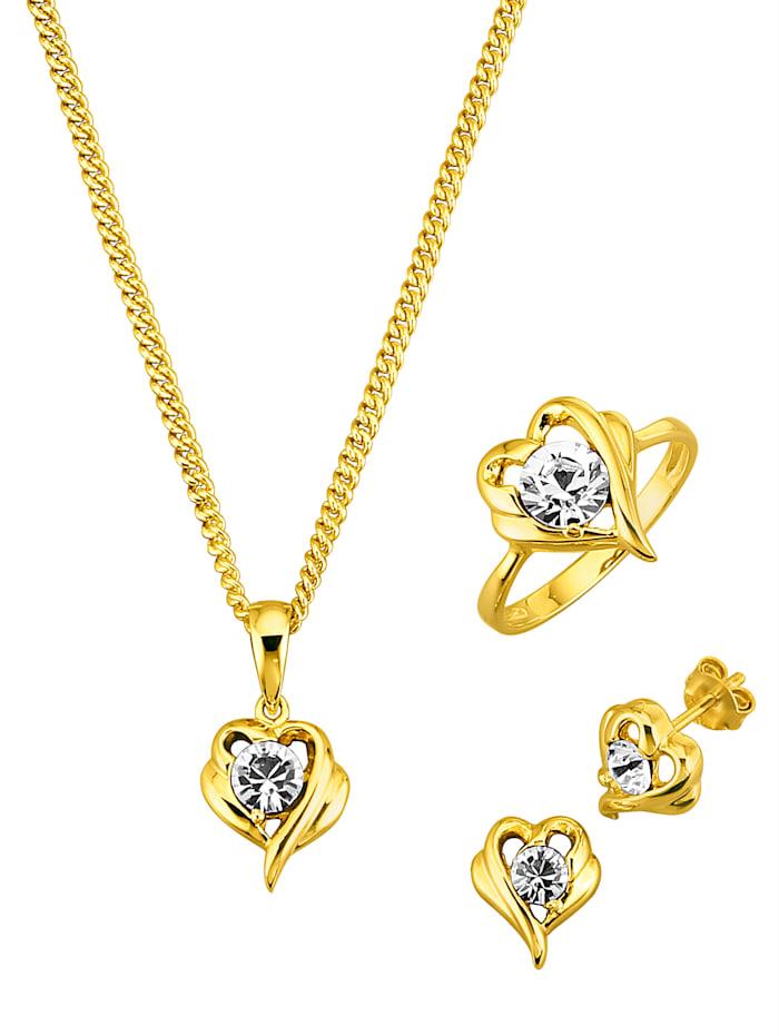 Golden Style 4-delige sieradenset met zirkonia's, Geel