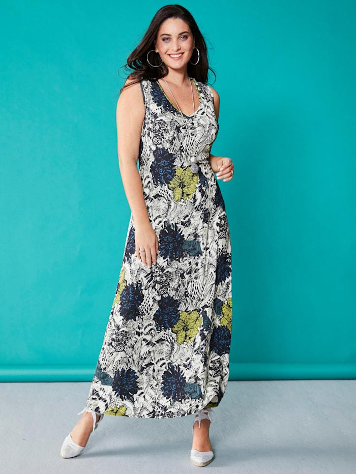 MIAMODA Jurk Met zomerse bloemenprint, Blauw/Wit