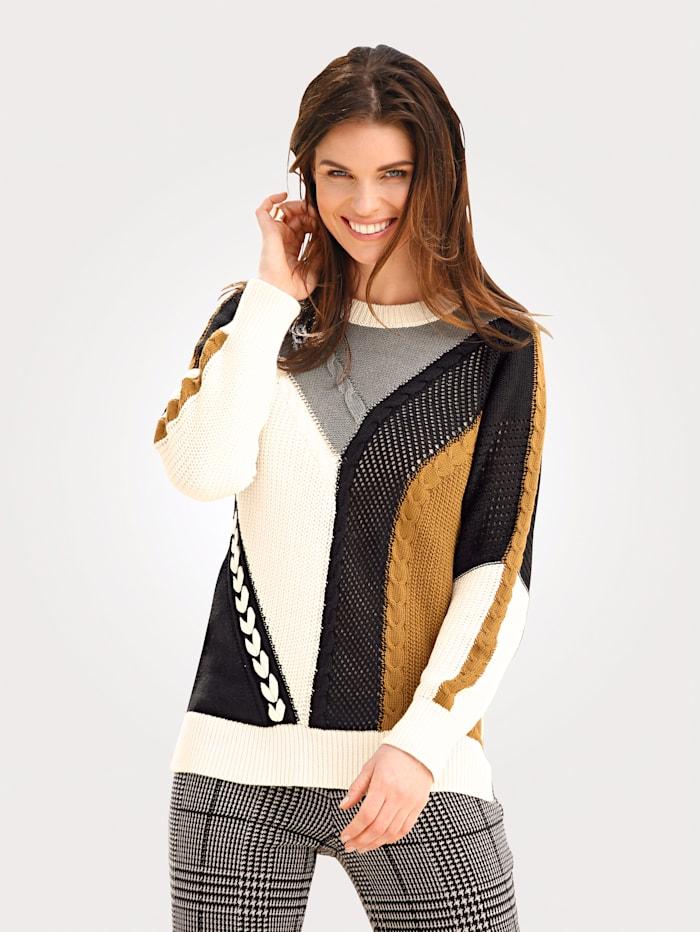 MONA Pullover mit Strukturstrick, Weiß/Schwarz