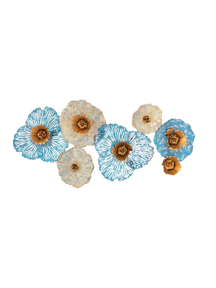 IMPRESSIONEN living Wand-Deko, Blüten, Türkis/Weiß/Goldfarben