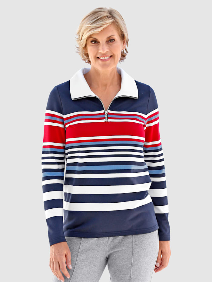 Paola Sweatshirt in schöner Streifenoptik, Marineblau/Rot/Weiß