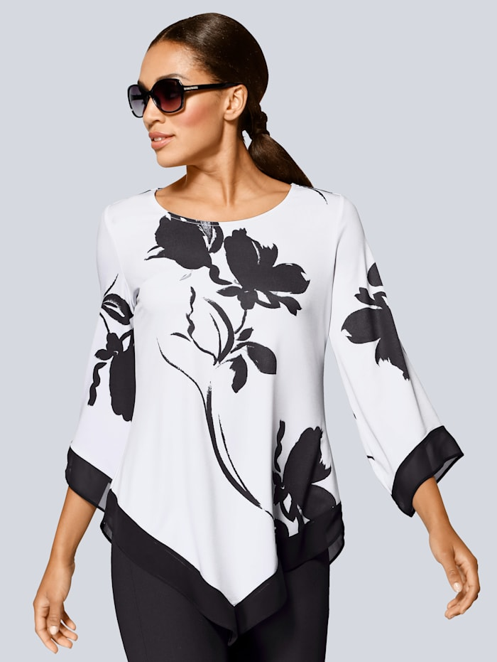 Alba Moda Shirt mit asymmetrischem Vorderteil, Weiß