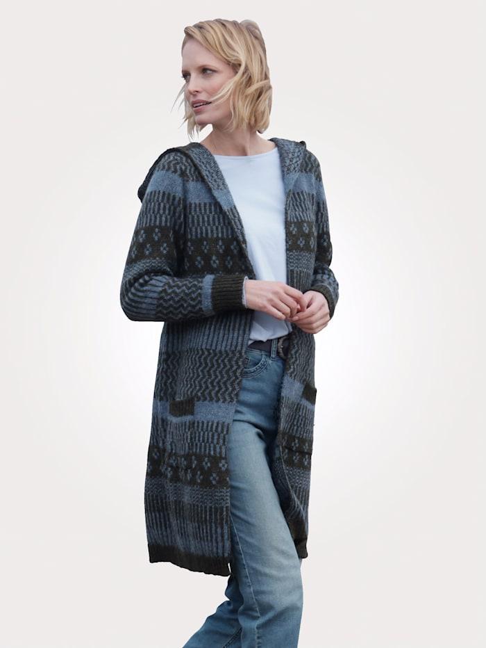 MONA Vest van jacquard, Kaki/Blauw