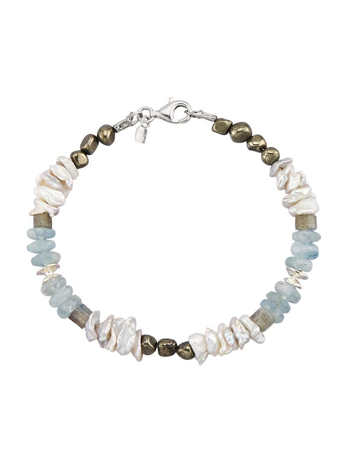 Roman Glass Armband in Silber 925, Weiß