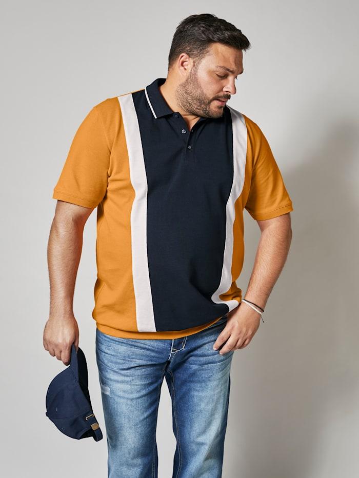 Men Plus Poloshirt met gladgebreide kraag, Marine/Mosterdgeel/Wit