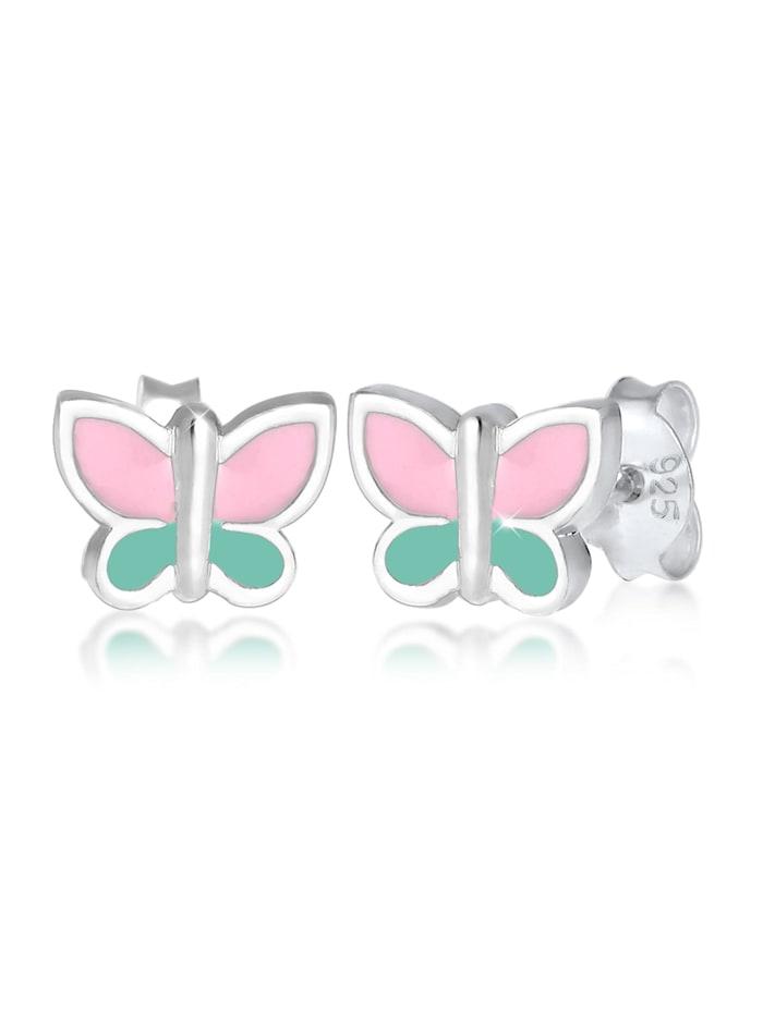 Elli Ohrringe Kinder Schmetterling Pastel Emaille 925 Silber, Silber