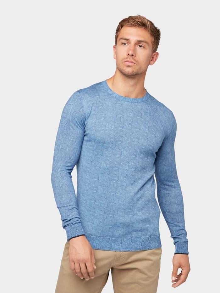 Tom Tailor Strickpullover mit Allover-Print, light blue melange navy print