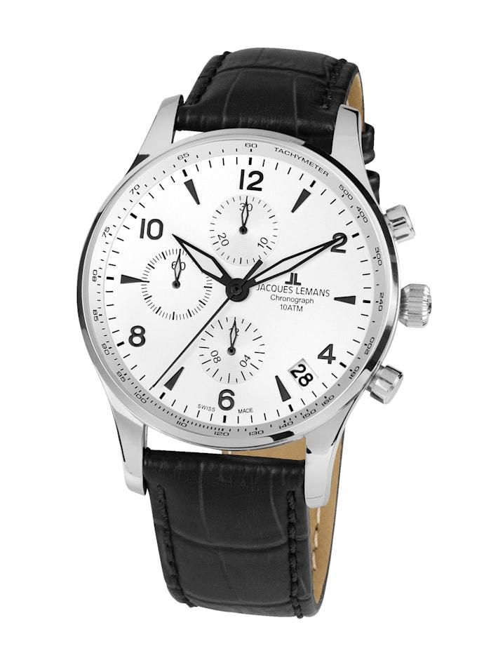 Jacques Lemans Herren-Uhr-Automatik-Chronograph Serie: London Automatic, Kollektion: Classic: 1- 1935B, Schwarz