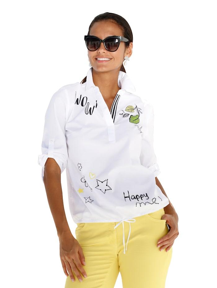 Betty Barclay Bluse mit Blütendruck und Stickerei, Weiß