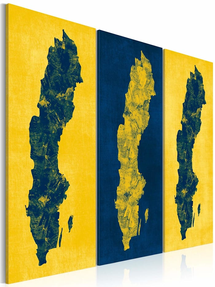 artgeist Wandbild Gemalte Landkarte von Schweden - Triptychon, Gelb,Blau
