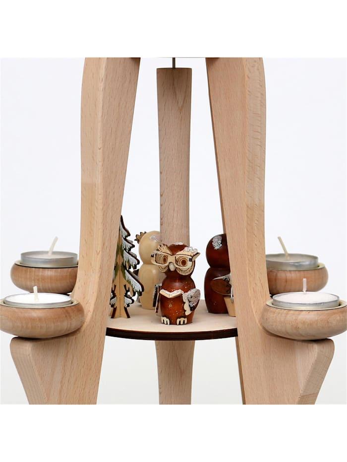 Holz Tischpyramide Eulenwald, 8 Teelichter