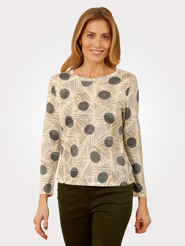 MONA Pullover mit grafischem Druck, Vanille/Oliv