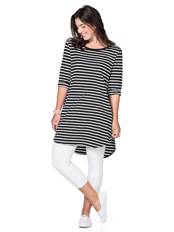 Sheego Sheego Longshirt mit Streifen, schwarz-weiß