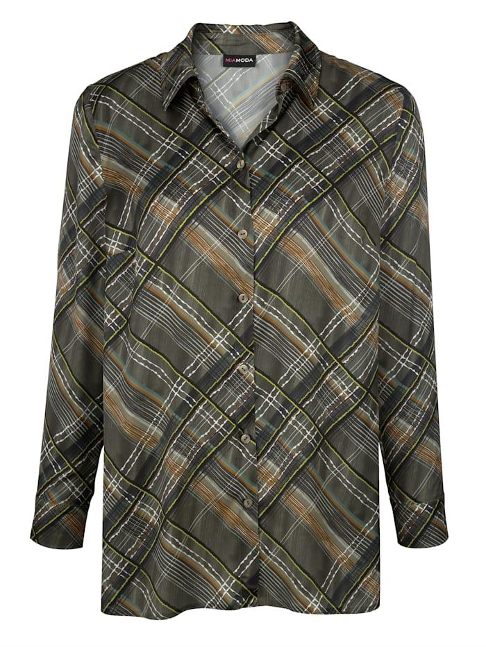 Košilová halenka v saténovém vzhledu