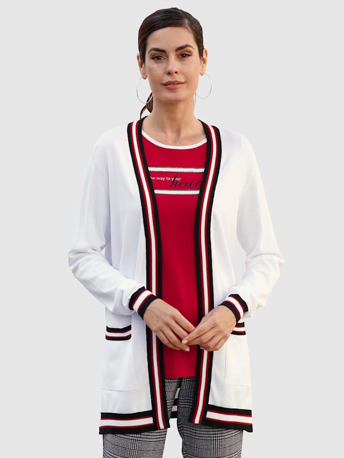 Laura Kent Gilet maille de coupe ouverte mode, Blanc