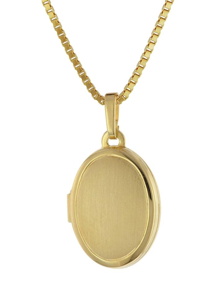 trendor Medaillon 333 Gelbgold mit Vergoldeter Silberkette, Goldfarben