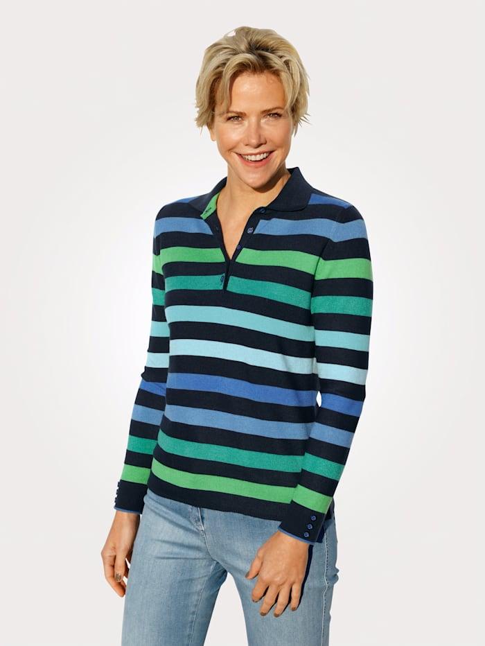 Rabe Polo-Pullover, Marineblau/Royalblau/Grün
