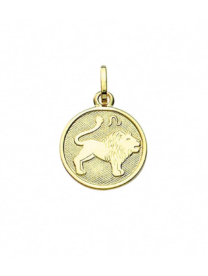 1001 Diamonds Damen & Herren Goldschmuck 333 Gold Sternzeichen Anhänger Löwe Ø 11,8 mm, gold