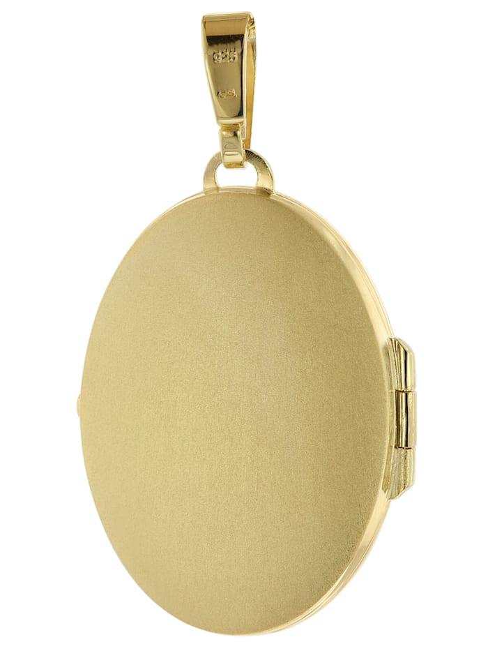 Halskette mit Medaillon-Anhänger Silber 925 gold plattiert