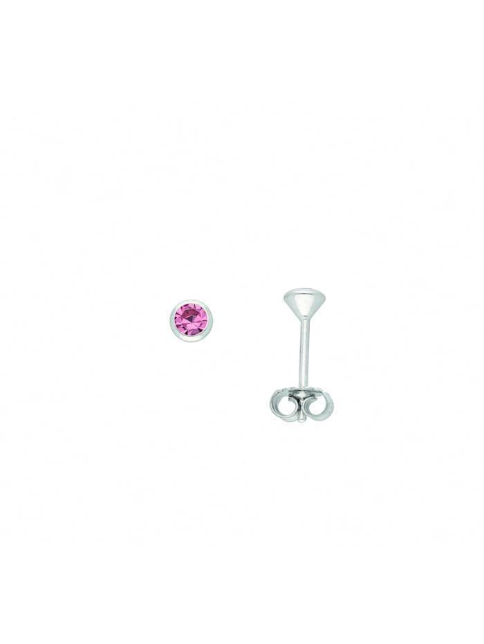 1001 Diamonds Damen Silberschmuck 925 Silber Ohrringe / Ohrstecker mit Zirkonia Ø 3 mm, rosa