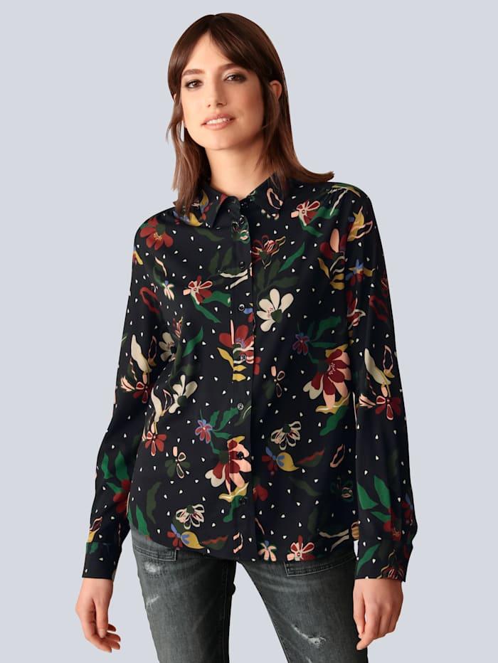 Seidensticker Schwarze Rose Bluse mit modischem Druck, Schwarz