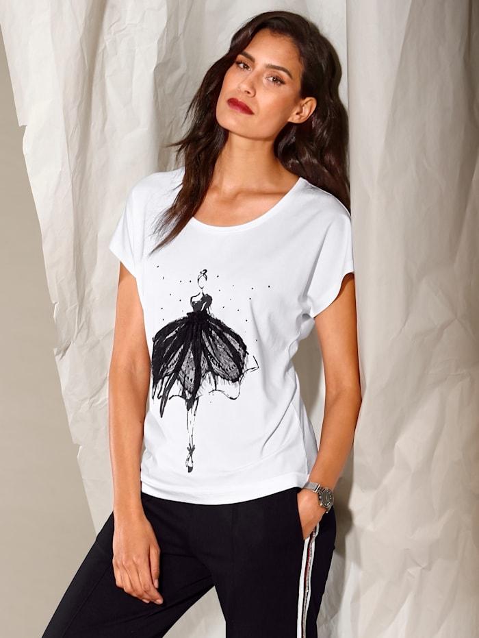 AMY VERMONT Shirt mit Druck, Weiß/Schwarz