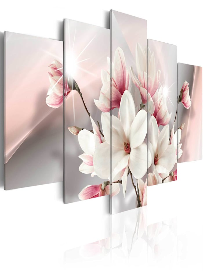 artgeist Wandbild Magnolia in bloom, Violett,Weiß,rosa