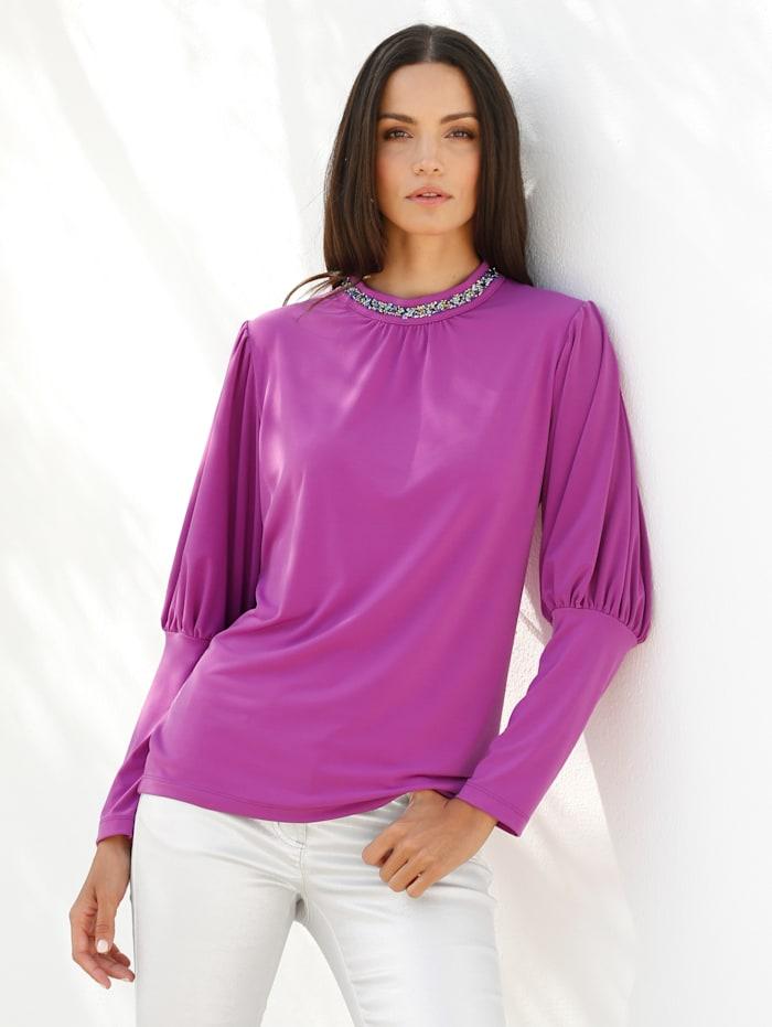 AMY VERMONT Shirt mit glitzerndem Stehkragen, Lila