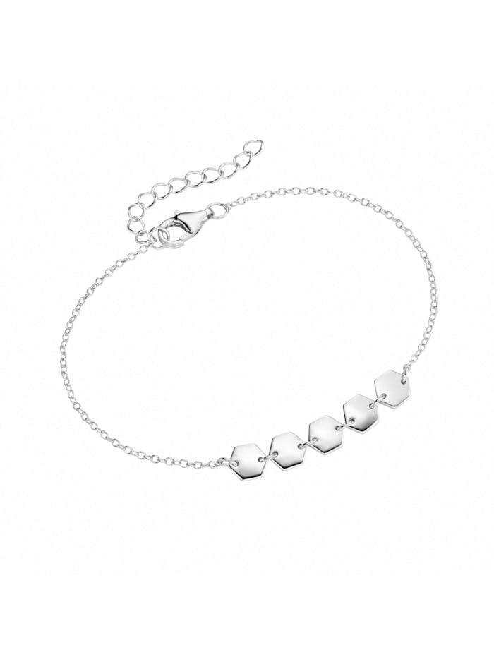 Smart Jewel Armband mit Hexagone als Behang, Silber 925, Silber