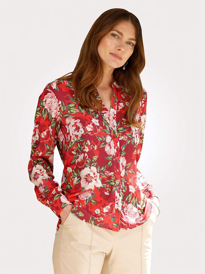 MONA Bluse mit farbbrillantem Floraldruck, Rot/Beere/Grün
