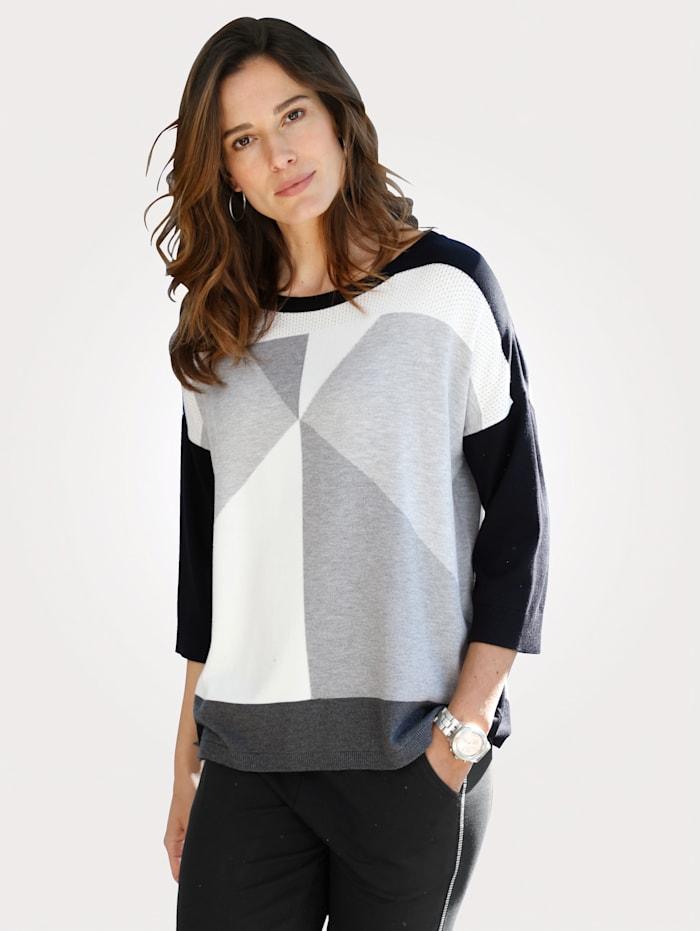 MONA Pull-over en maille fine de coupe ample, Noir/Gris/Blanc