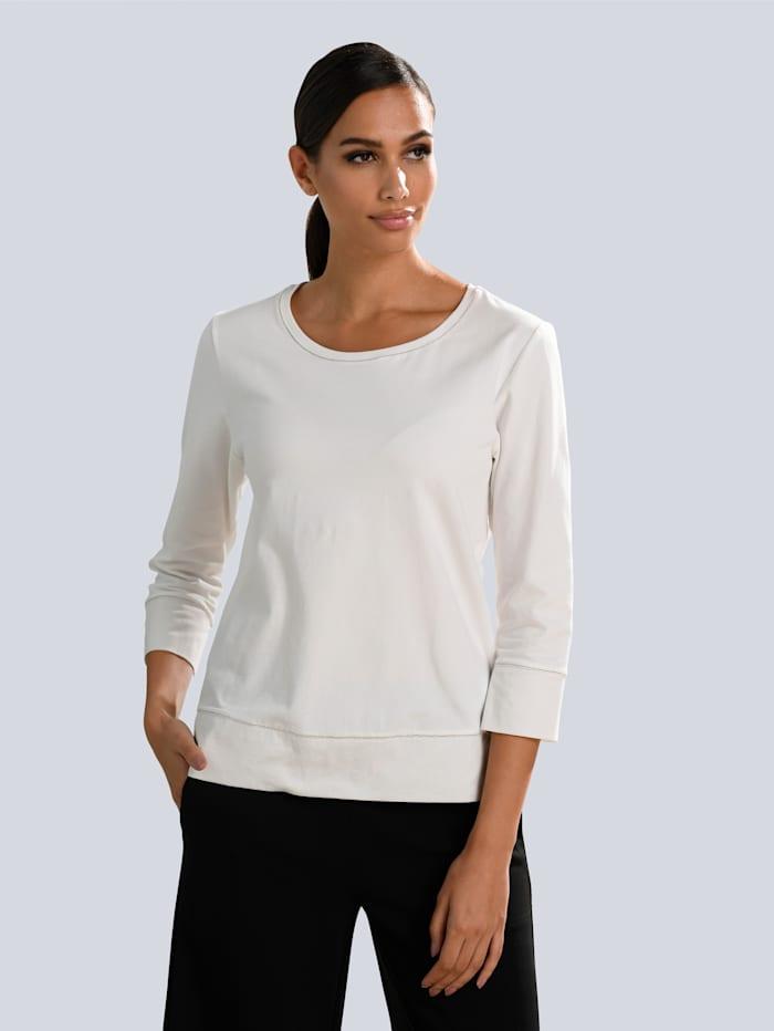 Alba Moda Shirt mit Schmuckbändchen gearbeitet, Weiß
