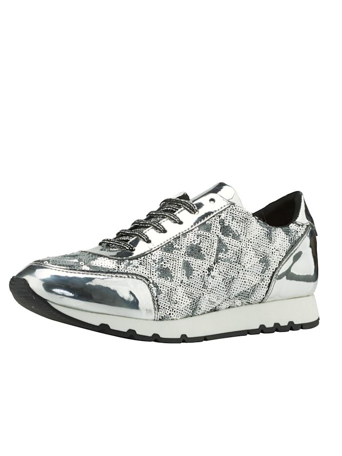 Sneaker met paillettenversiering, Zilverkleur