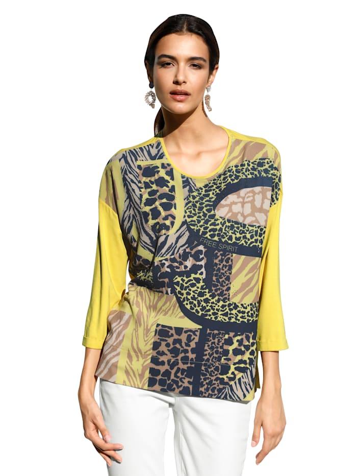 Betty Barclay Shirt met strassteentjes voor, Geel/Beige/Blauw