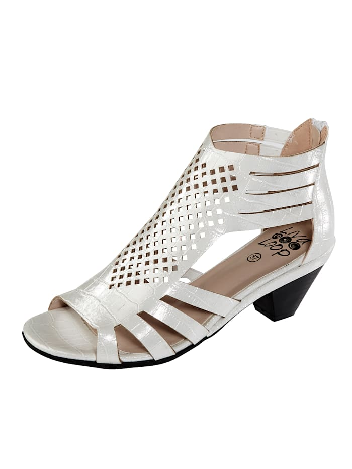 Liva Loop Sandále v luxusnom kroko vzhľade, Biela