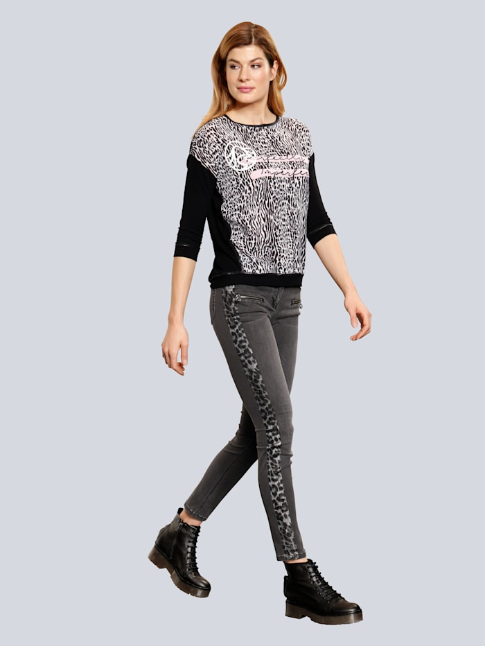 SPORTALM Jeans mit Galon im Leoprint, Black