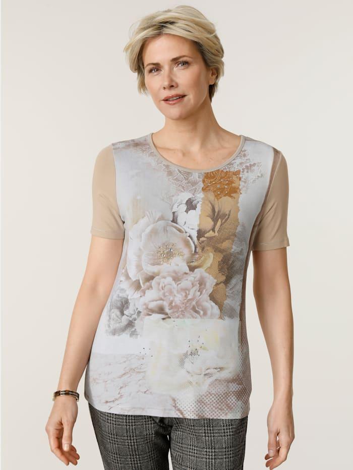 MONA Shirt mit funkelnden Ziersteinchen, Taupe/Oliv