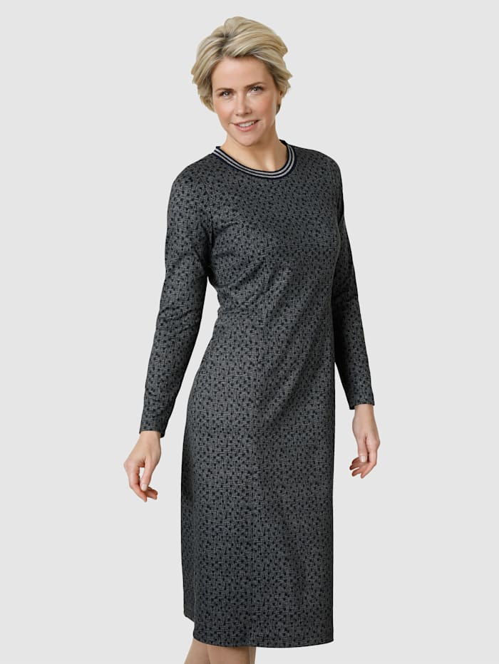 MONA Jerseykleid in angenehmer Passform, Marineblau/Weiß